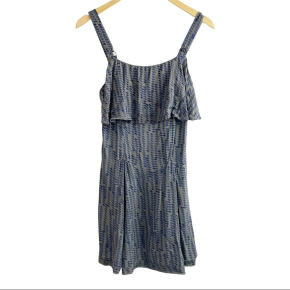 Free People Sleeveless Mini Dress Ruffles Zip Up Size 4